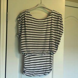 Black and white striped sleeveless T-shirt